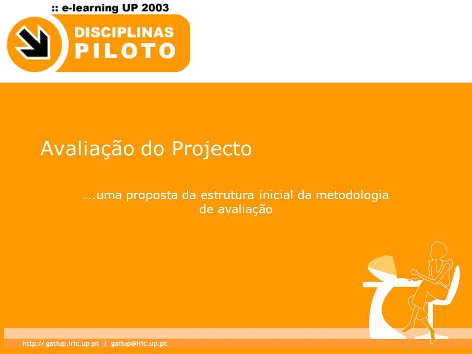 Avaliação do Projecto...uma proposta da estrutura inicial da metodologia de avaliação