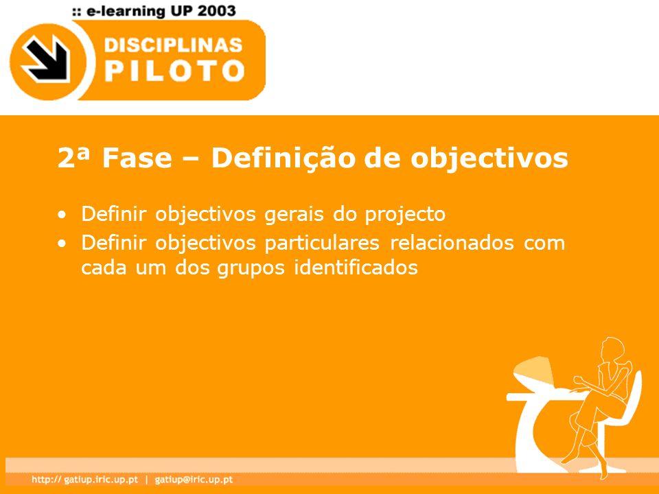 2ª Fase – Definição de objectivos Definir objectivos gerais do projecto Definir objectivos particulares relacionados com cada um dos grupos identifica