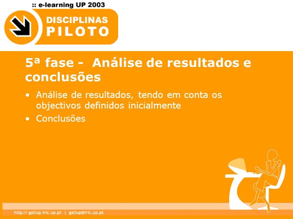 5ª fase - Análise de resultados e conclusões Análise de resultados, tendo em conta os objectivos definidos inicialmente Conclusões