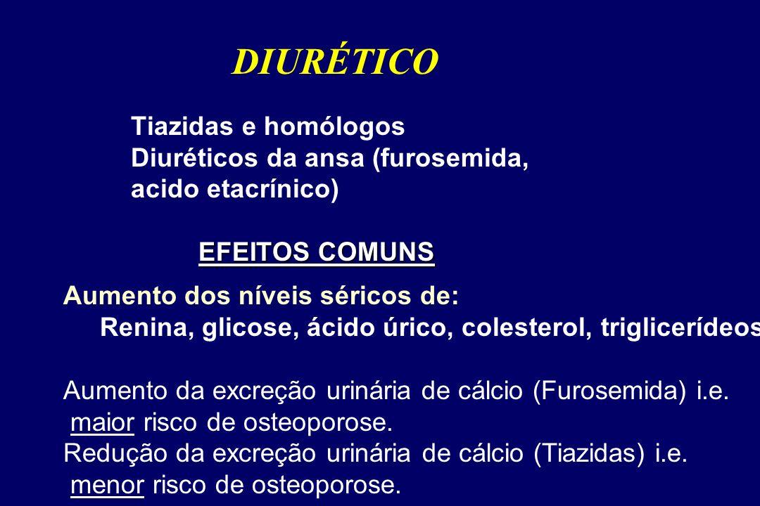EFEITOS COMUNS Tiazidas e homólogos Diuréticos da ansa (furosemida, acido etacrínico) EFEITOS COMUNS DIURÉTICO Aumento dos níveis séricos de: Renina, glicose, ácido úrico, colesterol, triglicerídeos Aumento da excreção urinária de cálcio (Furosemida) i.e.
