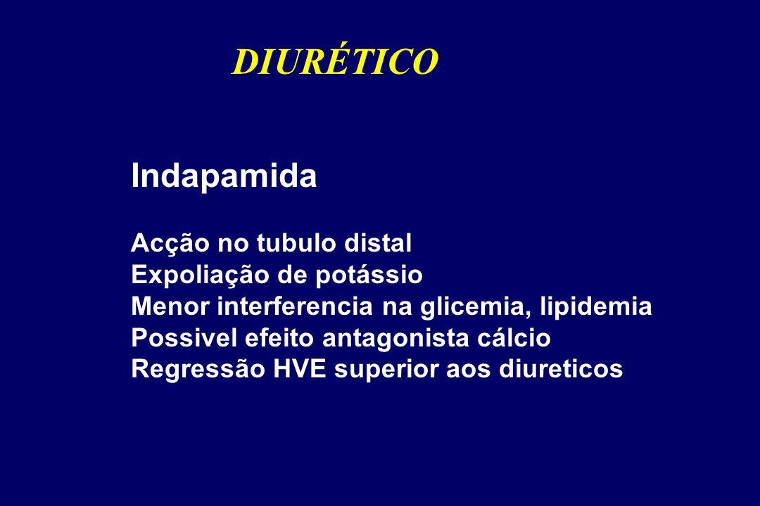 Indapamida Acção no tubulo distal Expoliação de potássio Menor interferencia na glicemia, lipidemia Possivel efeito antagonista cálcio Regressão HVE superior aos diureticos DIURÉTICO