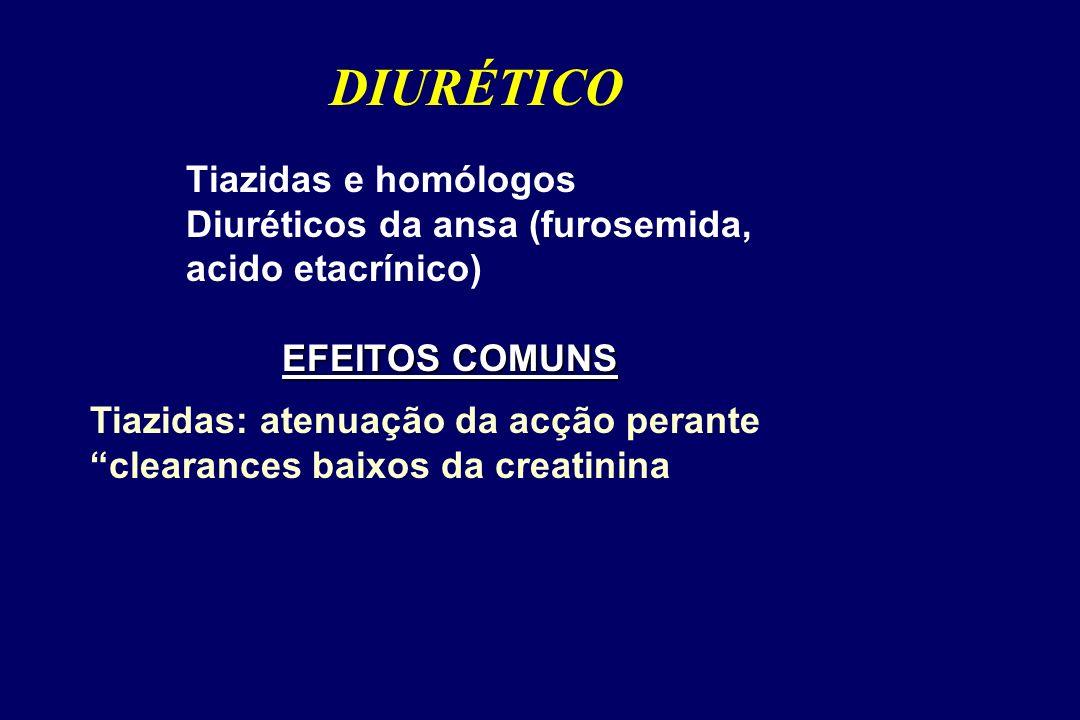 EFEITOS COMUNS Tiazidas e homólogos Diuréticos da ansa (furosemida, acido etacrínico) EFEITOS COMUNS DIURÉTICO Tiazidas: atenuação da acção perante clearances baixos da creatinina