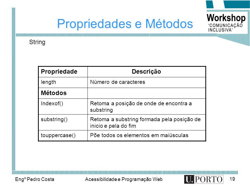 Engº Pedro CostaAcessibilidade e Programação Web 19 Propriedades e Métodos PropriedadeDescrição lengthNúmero de caracteres Métodos Indexof()Retoma a p
