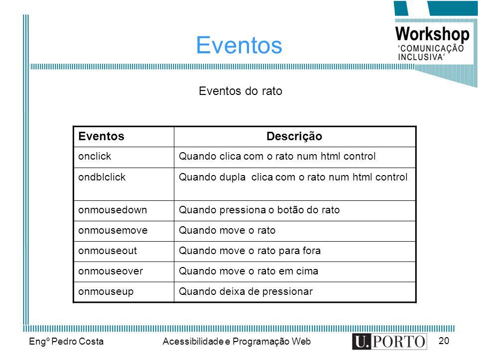 Engº Pedro CostaAcessibilidade e Programação Web 20 Eventos Descrição onclickQuando clica com o rato num html control ondblclickQuando dupla clica com