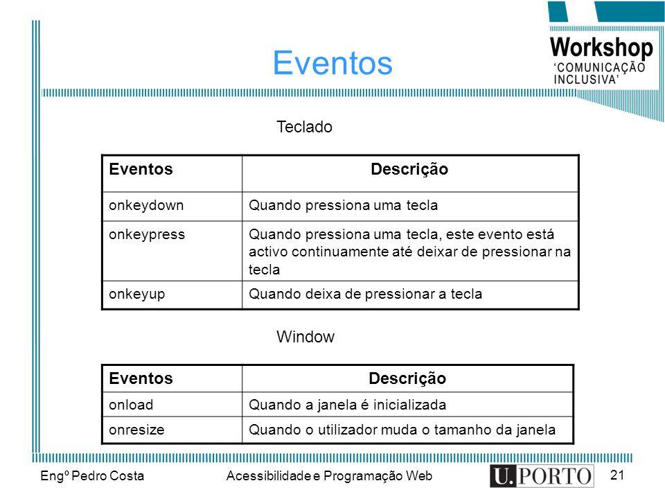 Engº Pedro CostaAcessibilidade e Programação Web 21 Eventos Descrição onkeydownQuando pressiona uma tecla onkeypressQuando pressiona uma tecla, este e