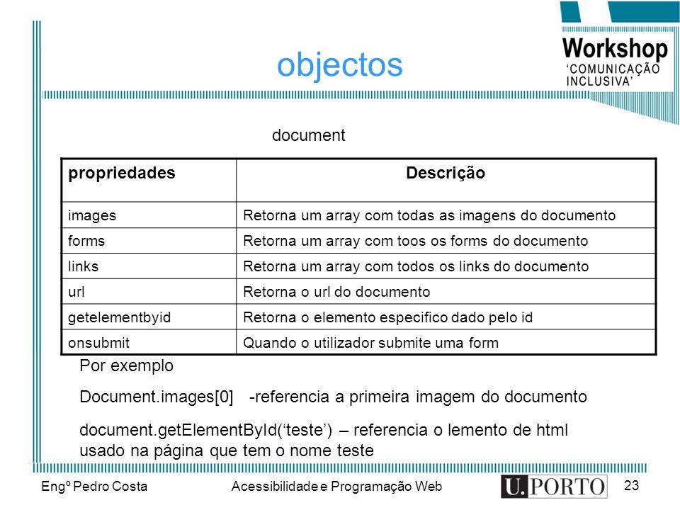 Engº Pedro CostaAcessibilidade e Programação Web 23 objectos propriedadesDescrição imagesRetorna um array com todas as imagens do documento formsRetor