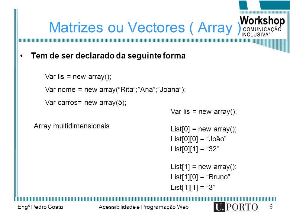 Engº Pedro CostaAcessibilidade e Programação Web 6 Matrizes ou Vectores ( Array ) Tem de ser declarado da seguinte forma Var lis = new array(); Var no