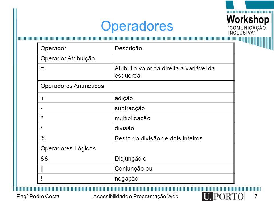 Engº Pedro CostaAcessibilidade e Programação Web 7 Operadores OperadorDescrição Operador Atribuição =Atribui o valor da direita à variável da esquerda