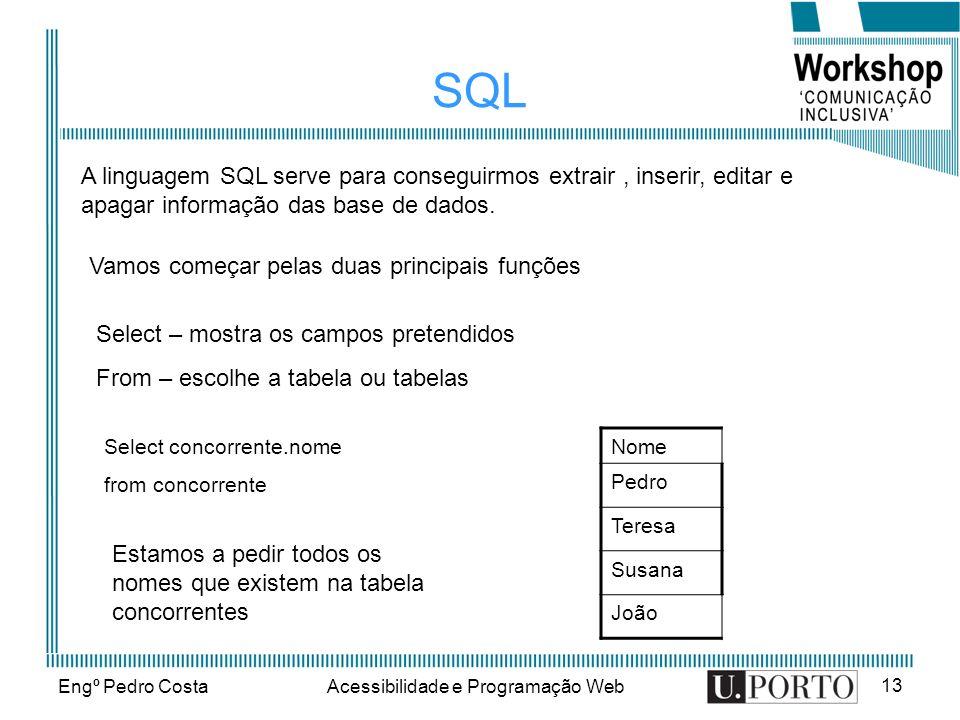 Engº Pedro CostaAcessibilidade e Programação Web 13 SQL A linguagem SQL serve para conseguirmos extrair, inserir, editar e apagar informação das base de dados.