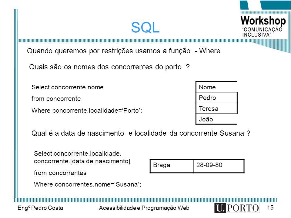 Engº Pedro CostaAcessibilidade e Programação Web 15 SQL Nome Pedro Teresa João Quais são os nomes dos concorrentes do porto ? Qual é a data de nascime