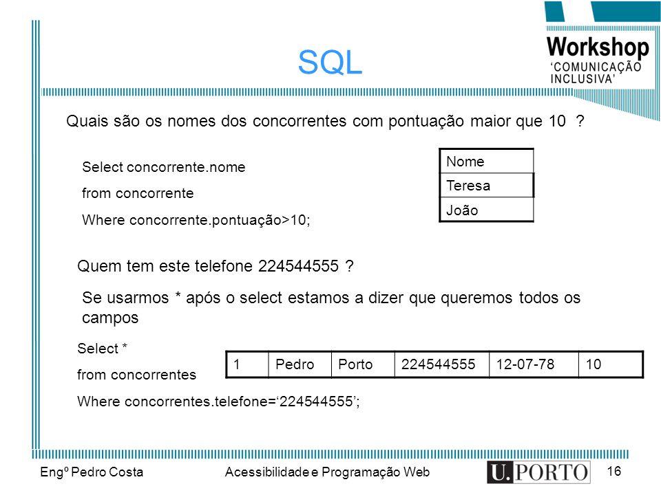 Engº Pedro CostaAcessibilidade e Programação Web 16 SQL Nome Teresa João Quais são os nomes dos concorrentes com pontuação maior que 10 ? Quem tem est