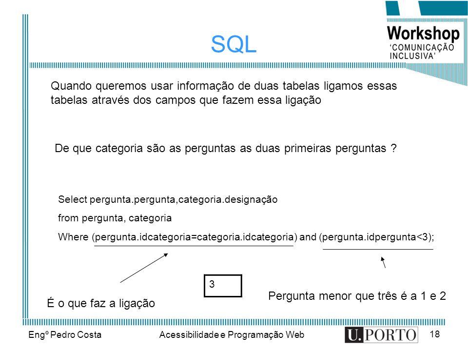 Engº Pedro CostaAcessibilidade e Programação Web 18 SQL De que categoria são as perguntas as duas primeiras perguntas ? 3 Quando queremos usar informa