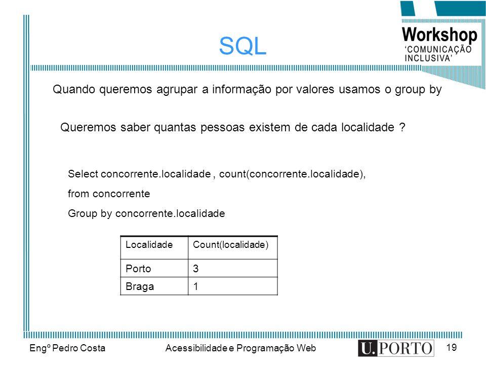 Engº Pedro CostaAcessibilidade e Programação Web 19 SQL Queremos saber quantas pessoas existem de cada localidade ? Quando queremos agrupar a informaç