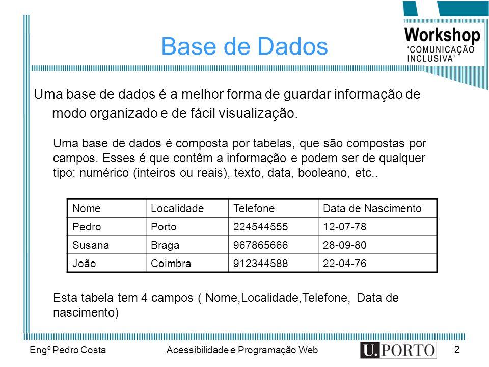 Engº Pedro CostaAcessibilidade e Programação Web 2 Base de Dados Uma base de dados é a melhor forma de guardar informação de modo organizado e de fácil visualização.