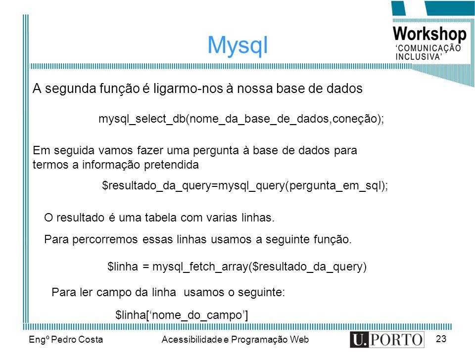 Engº Pedro CostaAcessibilidade e Programação Web 23 Mysql A segunda função é ligarmo-nos à nossa base de dados mysql_select_db(nome_da_base_de_dados,coneção); Em seguida vamos fazer uma pergunta à base de dados para termos a informação pretendida $resultado_da_query=mysql_query(pergunta_em_sql); O resultado é uma tabela com varias linhas.