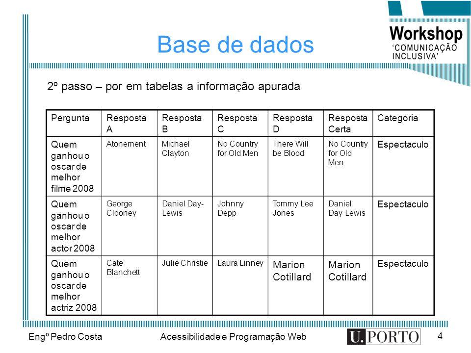 Engº Pedro CostaAcessibilidade e Programação Web 4 Base de dados 2º passo – por em tabelas a informação apurada PerguntaResposta A Resposta B Resposta