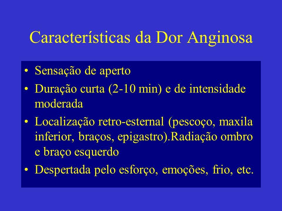 Características da Dor Anginosa Sensação de aperto Duração curta (2-10 min) e de intensidade moderada Localização retro-esternal (pescoço, maxila infe
