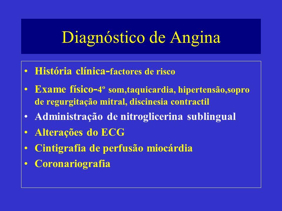 Diagnóstico de Angina História clínica - factores de risco Exame físico - 4º som,taquicardia, hipertensão,sopro de regurgitação mitral, discinesia con