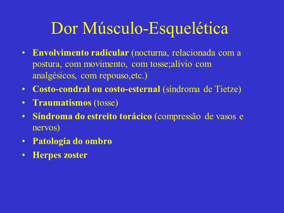 Dor Músculo-Esquelética Envolvimento radicular (nocturna, relacionada com a postura, com movimento, com tosse;alívio com analgésicos, com repouso,etc.