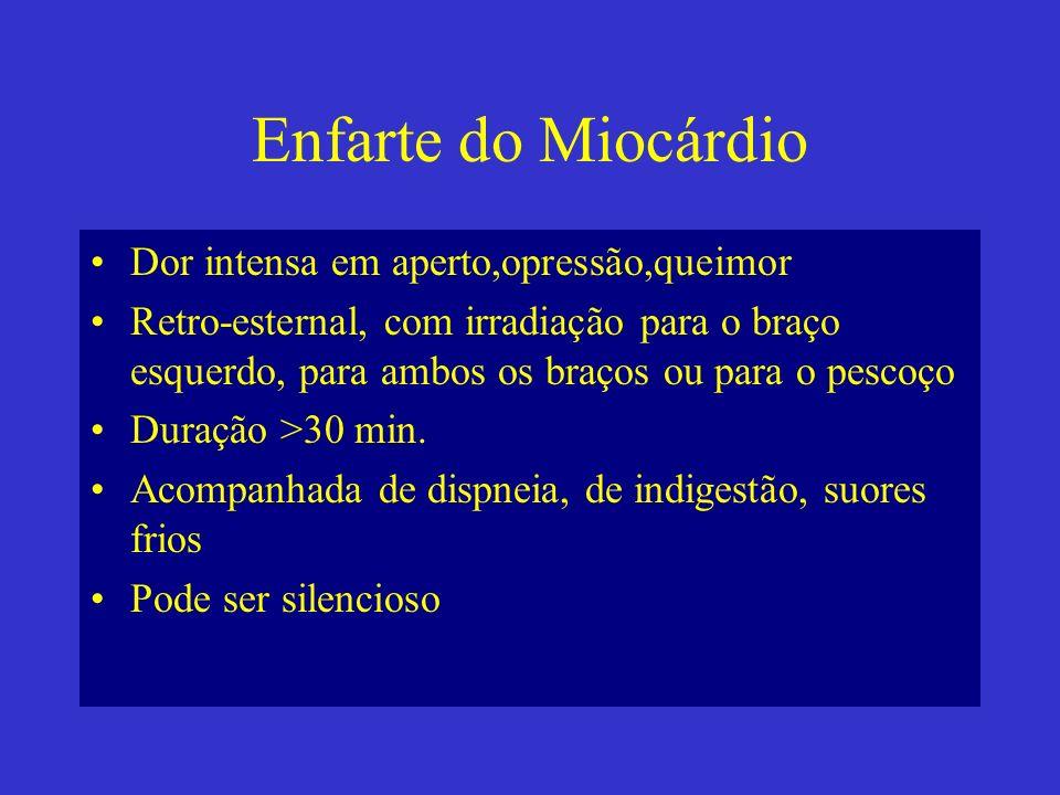 Enfarte do Miocárdio Dor intensa em aperto,opressão,queimor Retro-esternal, com irradiação para o braço esquerdo, para ambos os braços ou para o pesco