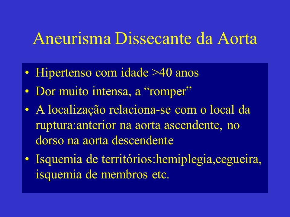 Aneurisma Dissecante da Aorta Hipertenso com idade >40 anos Dor muito intensa, a romper A localização relaciona-se com o local da ruptura:anterior na