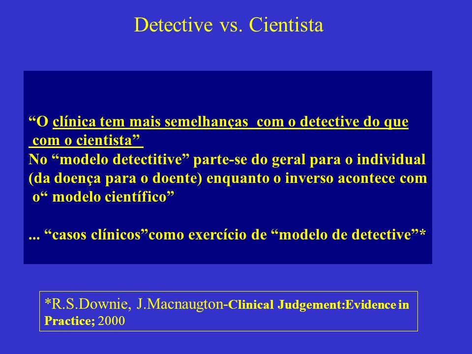 O clínica tem mais semelhanças com o detective do que com o cientista No modelo detectitive parte-se do geral para o individual (da doença para o doen