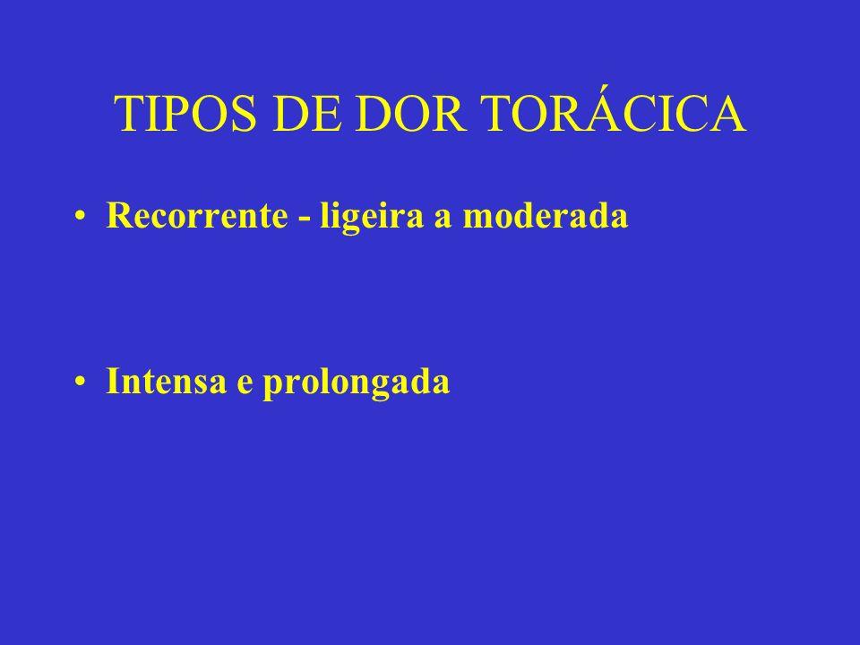 TIPOS DE DOR TORÁCICA Recorrente - ligeira a moderada Intensa e prolongada