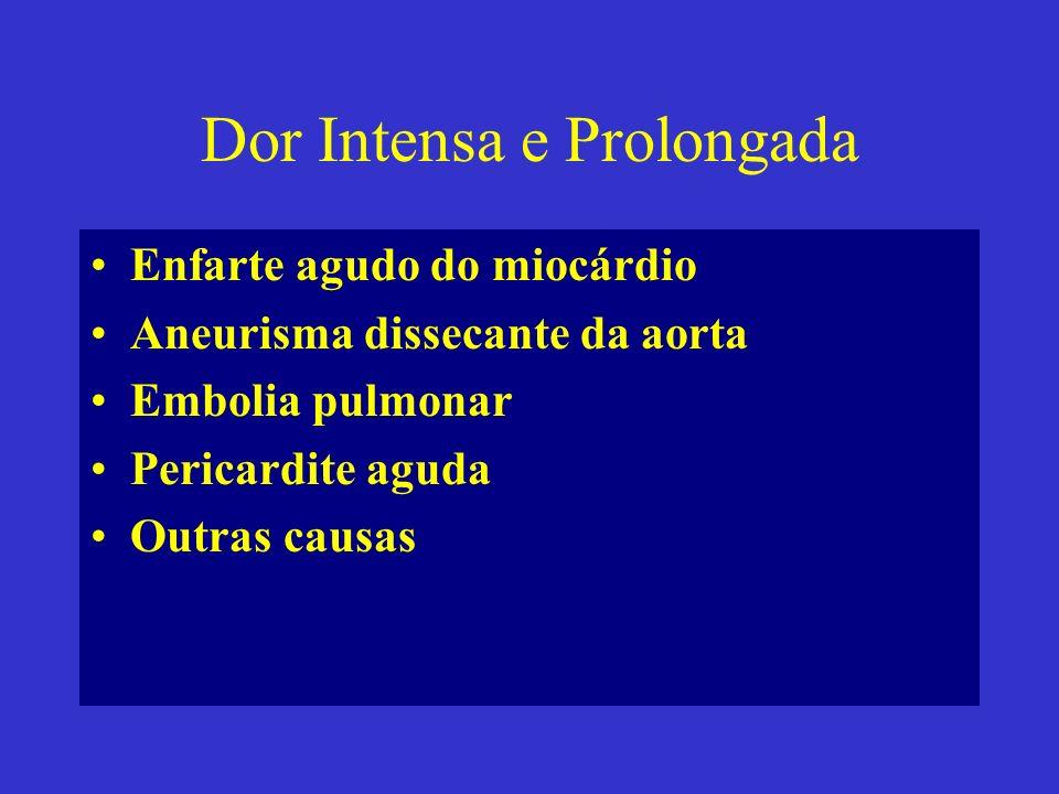 Dor Intensa e Prolongada Enfarte agudo do miocárdio Aneurisma dissecante da aorta Embolia pulmonar Pericardite aguda Outras causas