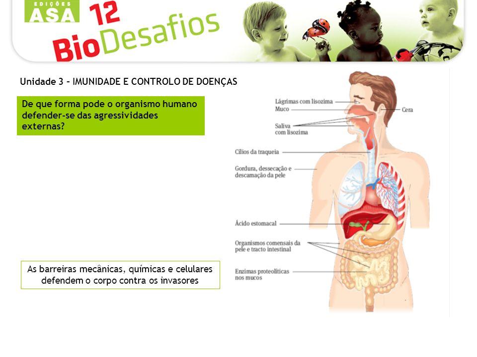 As barreiras mecânicas, químicas e celulares defendem o corpo contra os invasores De que forma pode o organismo humano defender-se das agressividades externas.