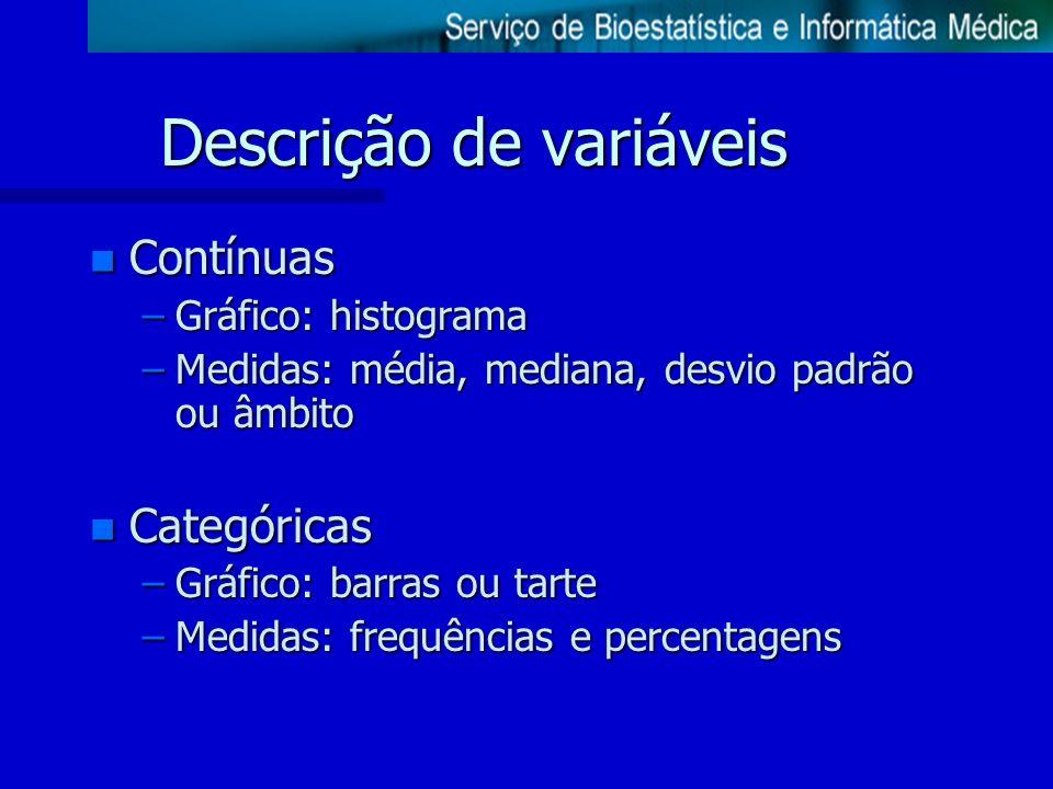 Descrição de variáveis n Contínuas –Gráfico: histograma –Medidas: média, mediana, desvio padrão ou âmbito n Categóricas –Gráfico: barras ou tarte –Med