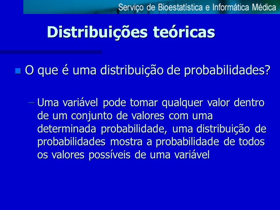 Distribuições teóricas n O que é uma distribuição de probabilidades? –Uma variável pode tomar qualquer valor dentro de um conjunto de valores com uma