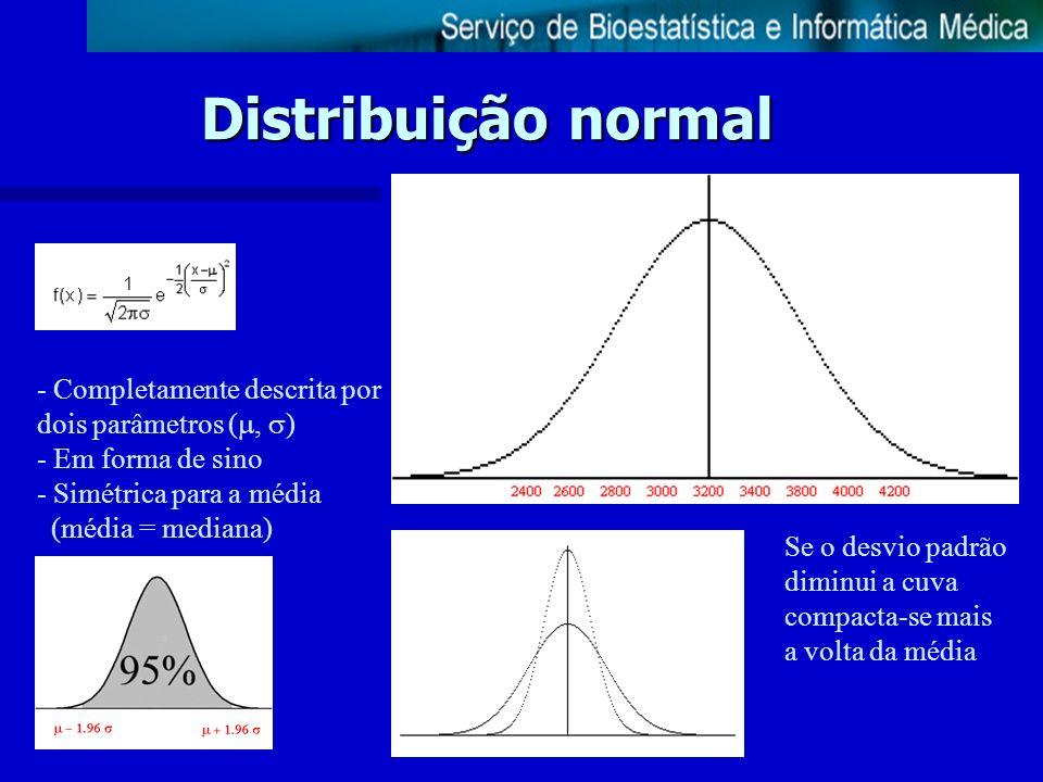 Distribuição normal - Completamente descrita por dois parâmetros (, ) - Em forma de sino - Simétrica para a média (média = mediana) Se o desvio padrão