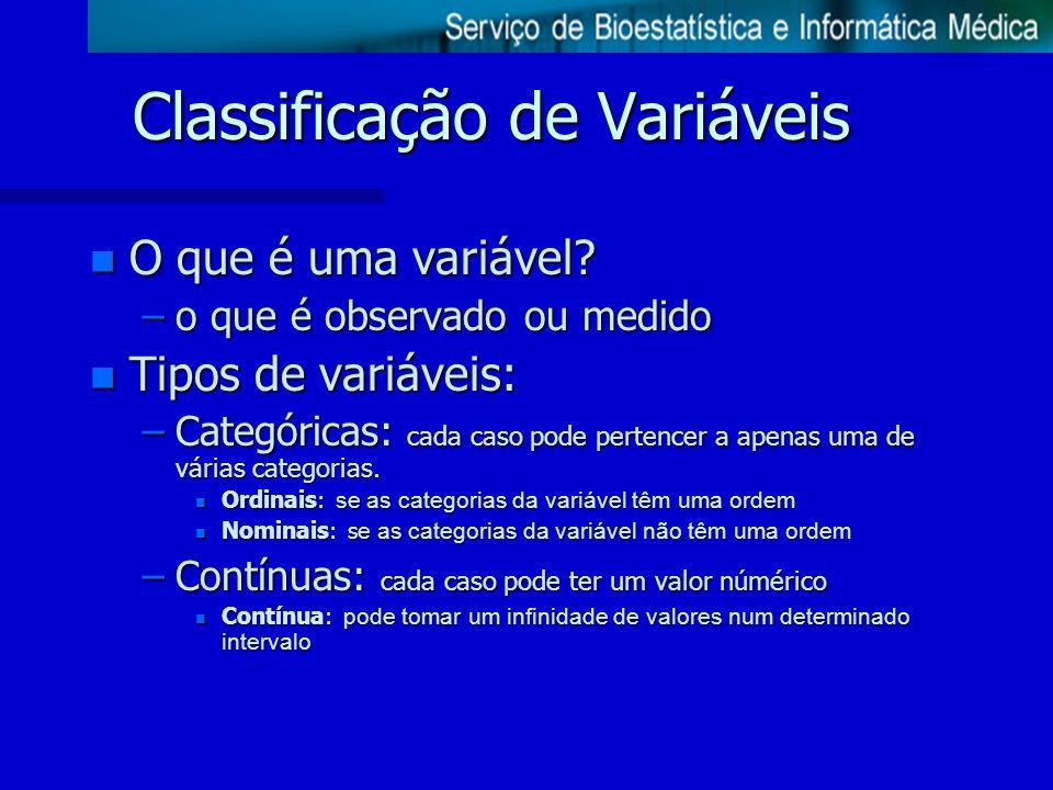 n O que é uma variável? –o que é observado ou medido n Tipos de variáveis: –Categóricas: cada caso pode pertencer a apenas uma de várias categorias. O