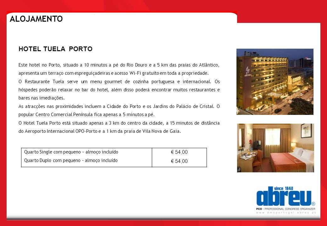 Quarto Single com pequeno – almoço incluído Quarto Duplo com pequeno – almoço incluído 54,00 HOTEL TUELA PORTO ALOJAMENTO Este hotel no Porto, situado