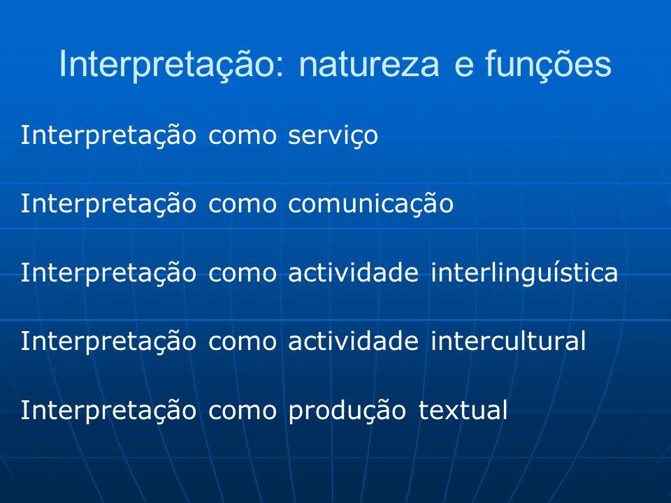 Interpretação: natureza e funções Interpretação como serviço Interpretação como comunicação Interpretação como actividade interlinguística Interpretação como actividade intercultural Interpretação como produção textual