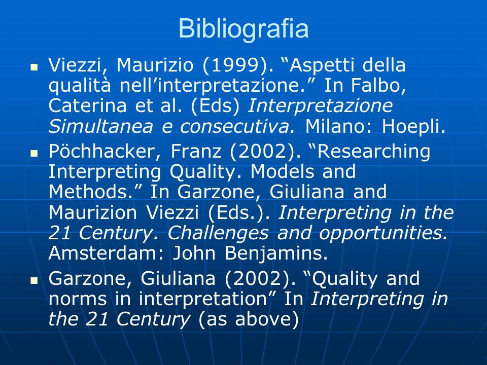 Bibliografia Viezzi, Maurizio (1999). Aspetti della qualità nellinterpretazione.