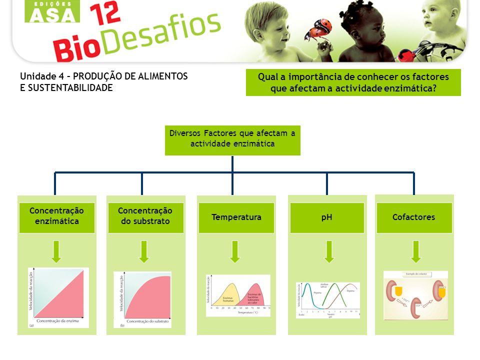 Qual a importância de conhecer os factores que afectam a actividade enzimática? Concentração enzimática Concentração do substrato Temperatura pH Cofac