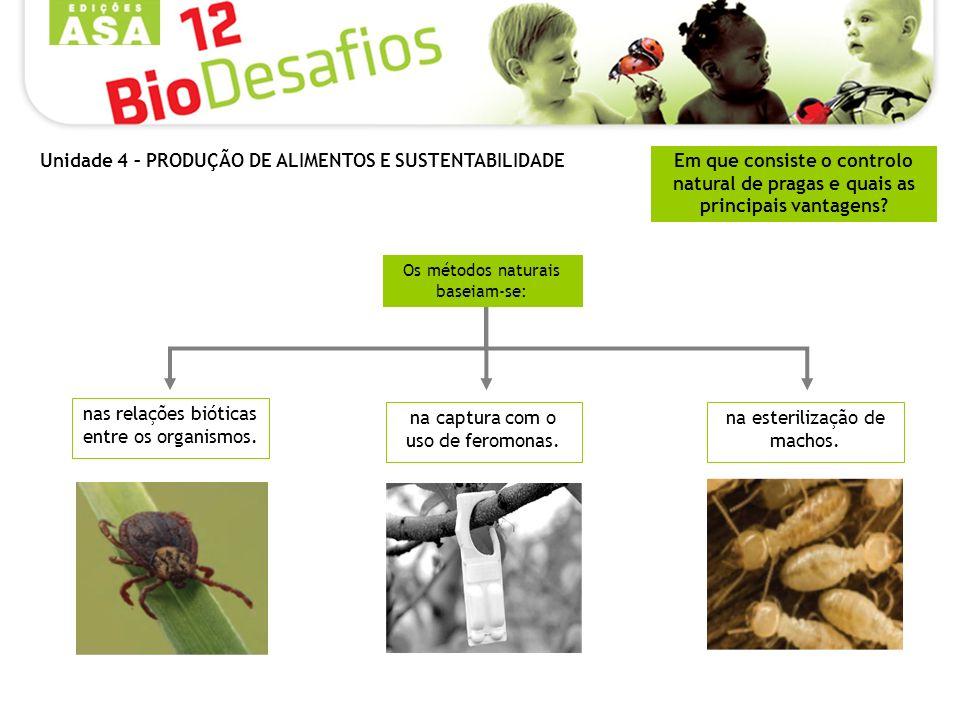 Em que consiste o controlo natural de pragas e quais as principais vantagens? Os métodos naturais baseiam-se: nas relações bióticas entre os organismo