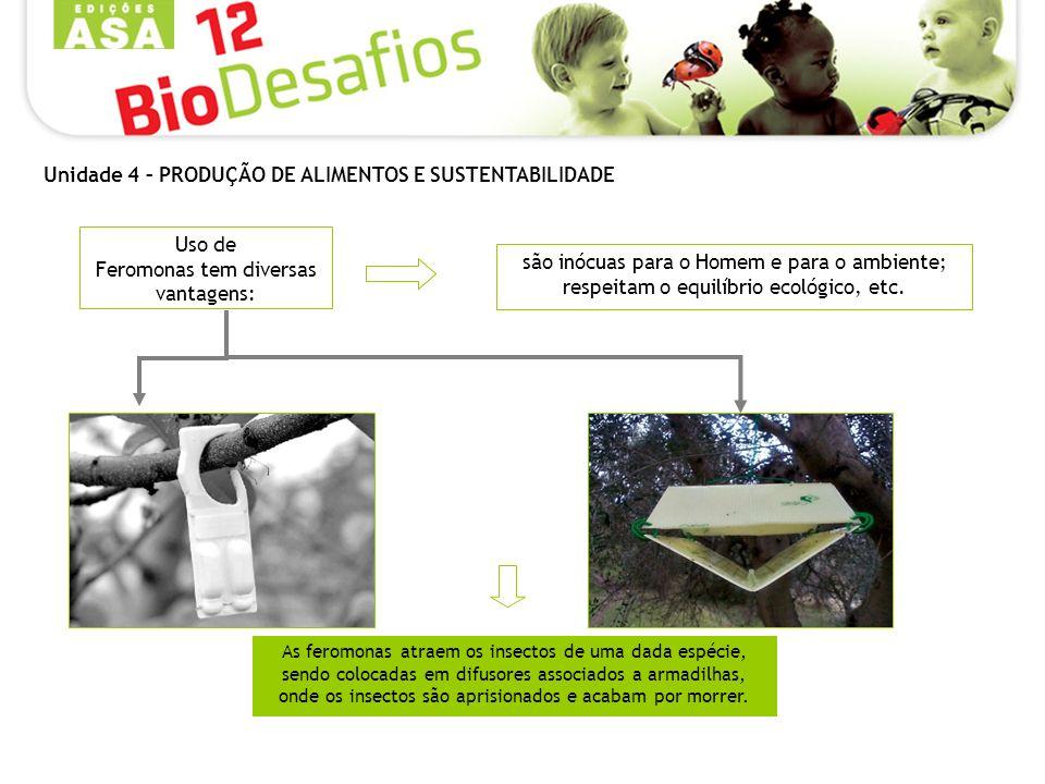 Uso de Feromonas tem diversas vantagens: são inócuas para o Homem e para o ambiente; respeitam o equilíbrio ecológico, etc. As feromonas atraem os ins