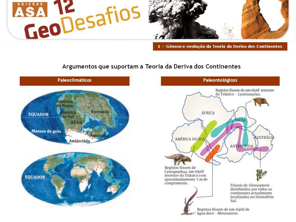 Argumentos que suportam a Teoria da Deriva dos Continentes PaleontológicosPaleoclimáticos 1 – Génese e evolução da Teoria da Deriva dos Continentes