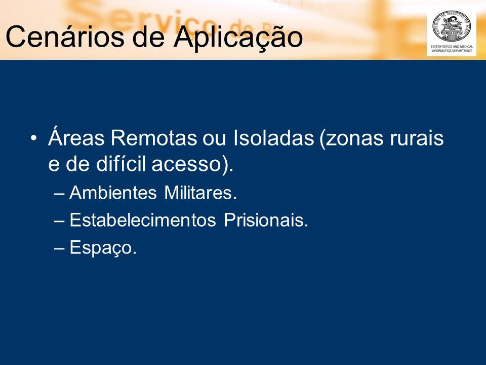 Cenários de Aplicação Áreas Remotas ou Isoladas (zonas rurais e de difícil acesso). –Ambientes Militares. –Estabelecimentos Prisionais. –Espaço.