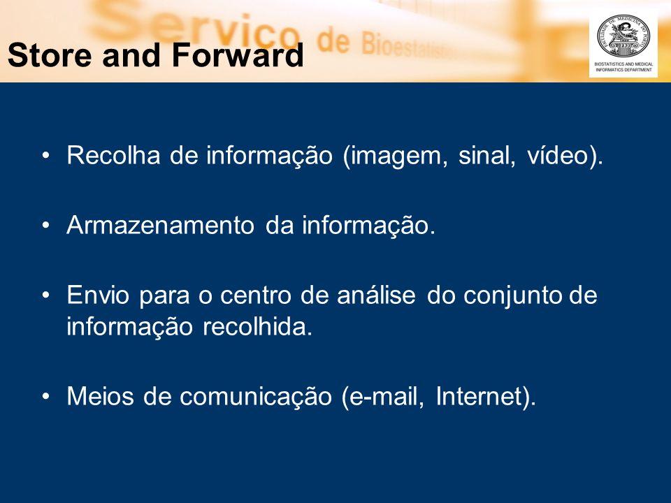 Store and Forward Recolha de informação (imagem, sinal, vídeo). Armazenamento da informação. Envio para o centro de análise do conjunto de informação