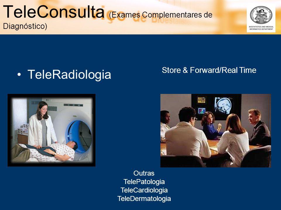 TeleConsulta (Exames Complementares de Diagnóstico) TeleRadiologia Outras TelePatologia TeleCardiologia TeleDermatologia Store & Forward/Real Time