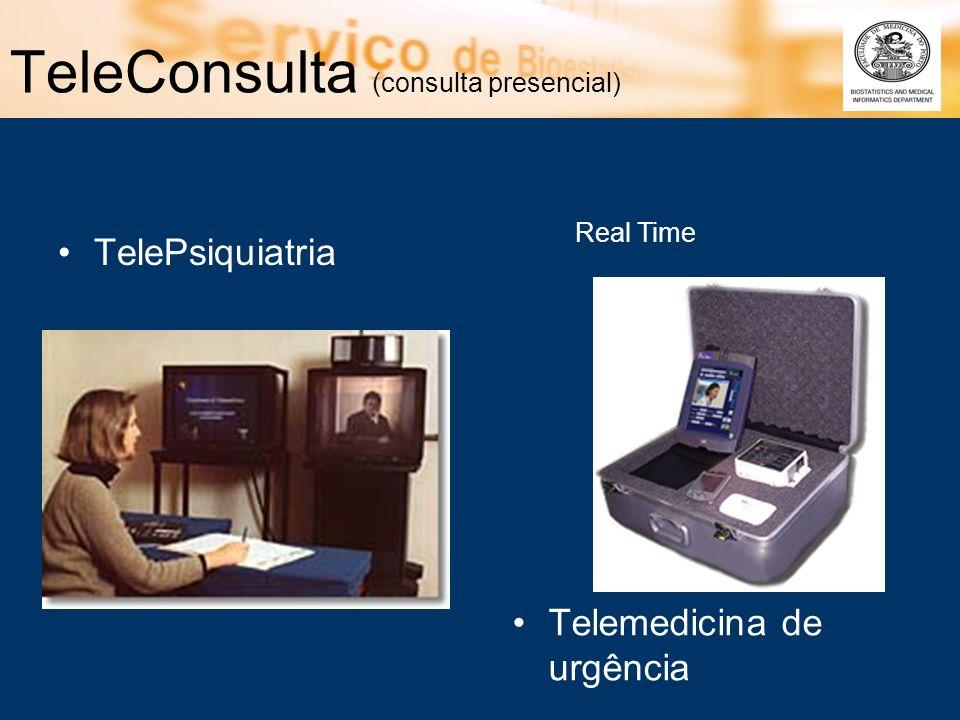 TeleConsulta (consulta presencial) TelePsiquiatria Telemedicina de urgência Real Time