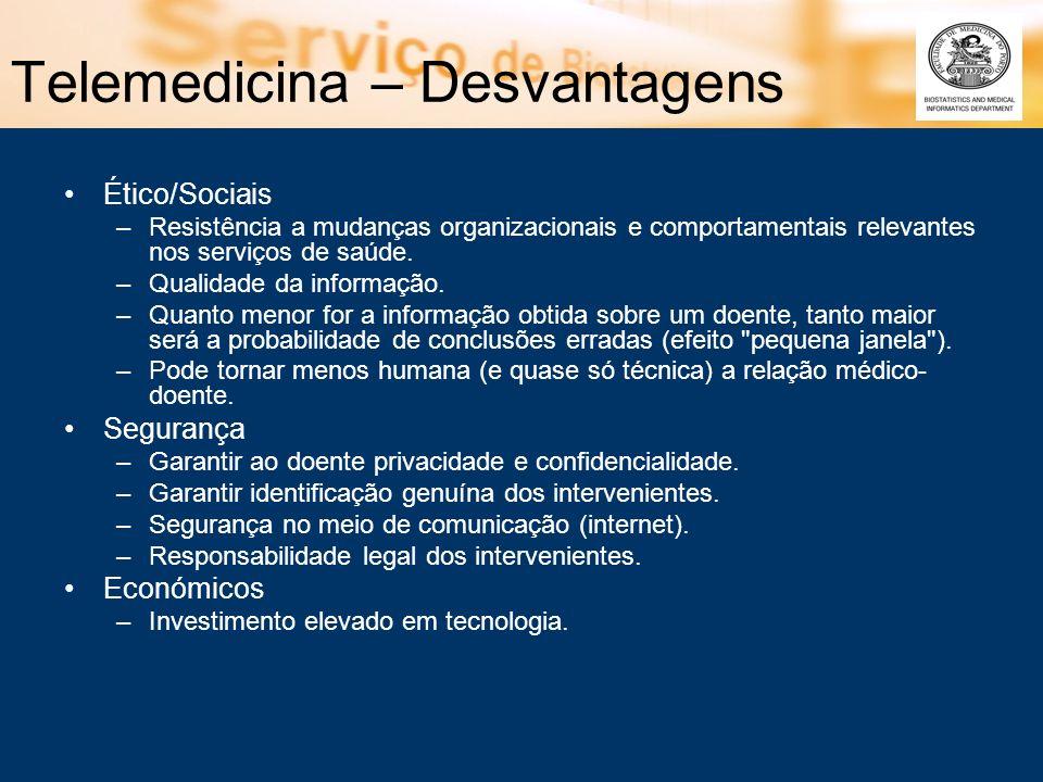Telemedicina – Desvantagens Ético/Sociais –Resistência a mudanças organizacionais e comportamentais relevantes nos serviços de saúde. –Qualidade da in