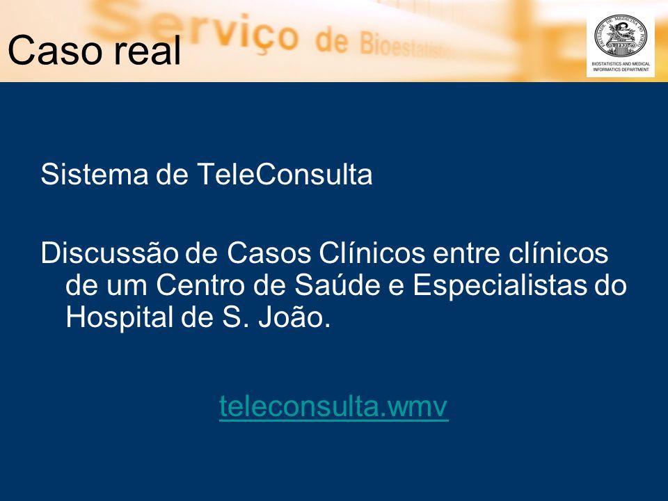Caso real Sistema de TeleConsulta Discussão de Casos Clínicos entre clínicos de um Centro de Saúde e Especialistas do Hospital de S. João. teleconsult