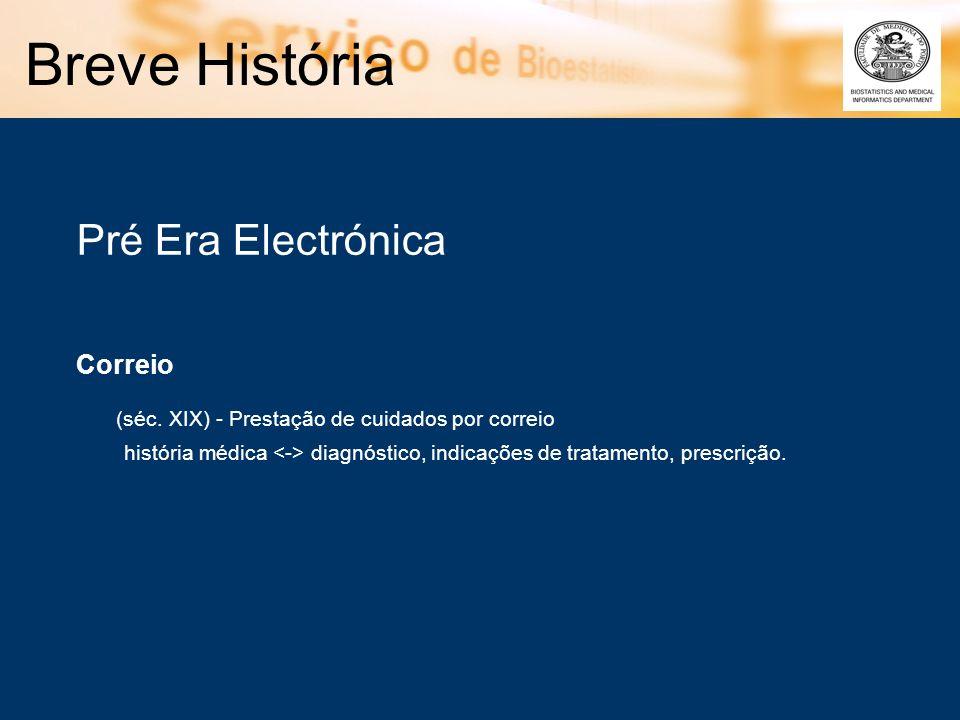 Pré Era Electrónica Correio (séc. XIX) - Prestação de cuidados por correio história médica diagnóstico, indicações de tratamento, prescrição.
