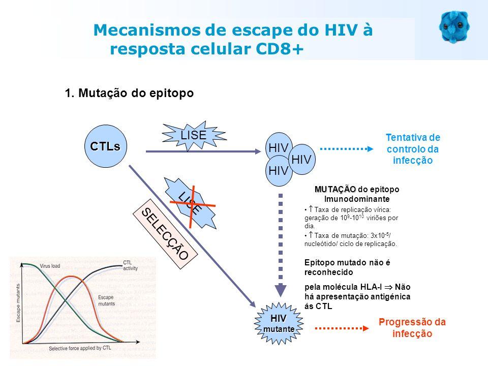 HIV LISE Tentativa de controlo da infecção MUTAÇÃO MUTAÇÃO do epítopo Imunodominante Taxa de replicação vírica: geração de 10 9 -10 10 viriões por dia