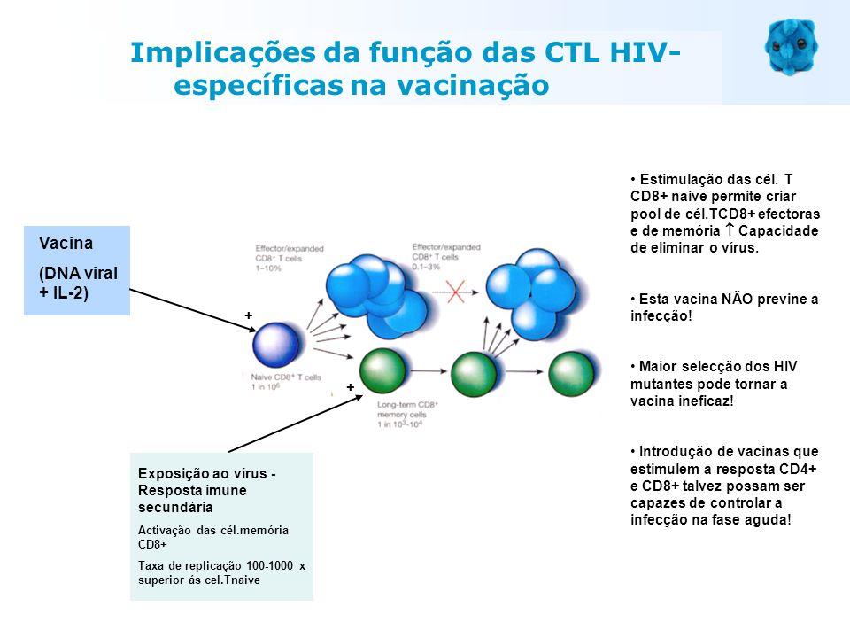 Vacina (DNA viral + IL-2) Exposição ao vírus - Resposta imune secundária Activação das cél.memória CD8+ Taxa de replicação 100-1000 x superior ás cel.