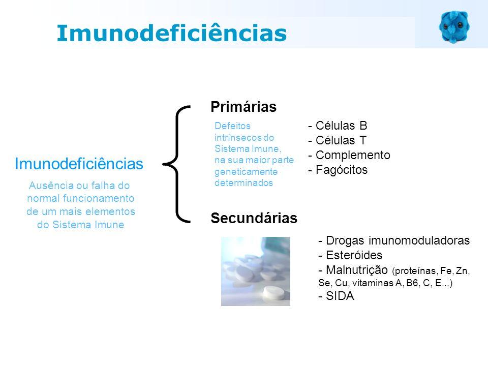 Imunodeficiências Primárias Ausência ou falha do normal funcionamento de um mais elementos do Sistema Imune - Células B - Células T - Complemento - Fa